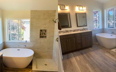 Modern bathroom interior in eco style