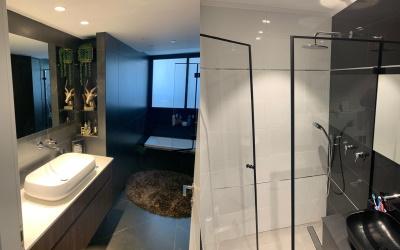 Modern bathroom interior with minimalistic shower and bathtub
