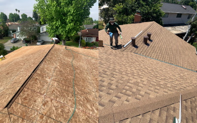dimensional asphalt roof shingles installation on the underlayment of the house construction